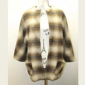 Jackets & Blazers - Vintage Women Horsehair Jacket Brown Plaid L